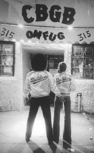 Handsome Dick Manitoba & friend at the entrance to CBGB