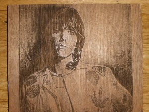 Wood-burnt portrait of Gram Parsons by Michael James [Burnt to Last, Waycross GA]